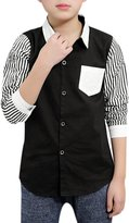 uxcell® Boys Stripes Feather Prints Contrast Color Shirt