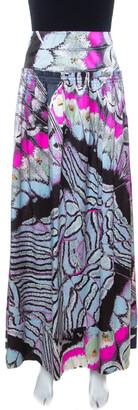 Roberto Cavalli Multicolor Abstract Print Satin Maxi Skirt M
