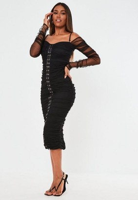 Missguided Organza Lace Up Bardot Midi Dress