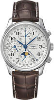 Longines L26734783 Master Collection Automatic Chronograph Moonphase Leather Strap Watch, Brown/silver
