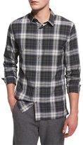 Vince Plaid Linen-Blend Sport Shirt, Black Deep Moss