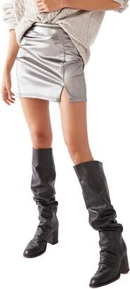 Free People Metallic Miniskirt