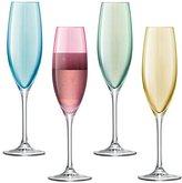LSA International 225 ml Polka Champagne Flute Pastel, Assorted (Pack of 4)