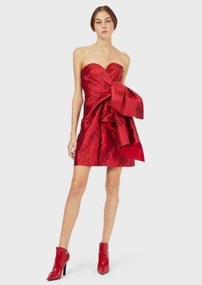 Emporio Armani Taffeta Bustier Dress With Jacquard Floral Motif