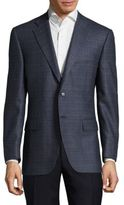 Canali Plaid Buttoned Wool Jacket