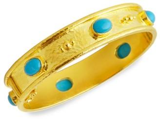 Elizabeth Locke Stone 19K Yellow Gold & Sleeping Beauty Turquoise Flat Thin Bangle