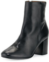 Frye Jodi Leather Block-Heel Bootie, Black