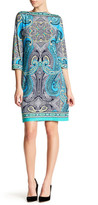 Sandra Darren Boatneck Paisley Dress (Petite)