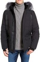 Point Zero Men's Down Jacket With Faux Fur Trim