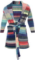 The Elder Statesman Kids Striped Cashmere Robe with Teddy Bear