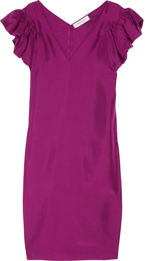 Yves Saint Laurent Ruffled silk-habotai dress