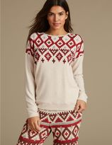 Marks and Spencer Fairisle Print Long Sleeve Pyjama Top
