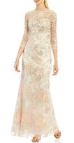 Aidan Mattox MD1E201009 Sheer Embroidered Lace Gown