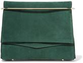Eddie Borgo Boyd Leather-trimmed Suede Clutch - Emerald