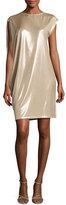Halston Asymmetric-Sleeve Metallic Jersey Dress