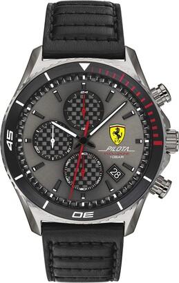 Ferrari Men's Pilota EVO Stainless Steel Quartz Watch with Leather Strap