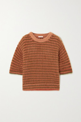 Chloé Cropped Striped Mohair-blend Top - Coral