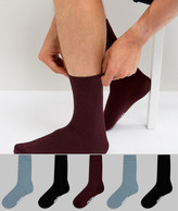 Asos Socks In Burgundy Blue And Black 5 Pack