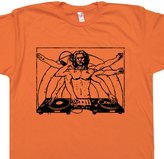 Shirtmandude T-Shirts L - DJ T Shirt Da Vinci AM Vintage Turntable Run DMC Beastie Boys Headphones Shirtmandude