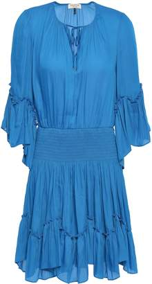 Halston Ruffle-trimmed Shirred Crepe Mini Dress