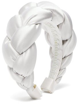 Marta Ferri - Braided Silk-satin Headband - White