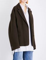 Maison Margiela Ladies Brown Button fastening Oversized Stretch-Wool Coat