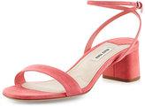 Miu Miu Suede 45mm Ankle-Wrap Sandal, Geranio