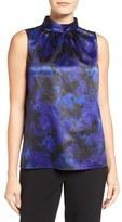 T Tahari Sapphire Print High Neck Blouse