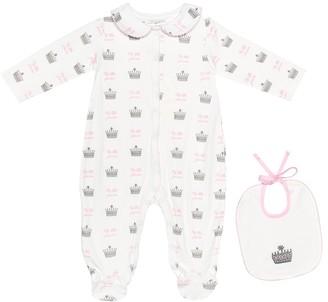 Rachel Riley Printed cotton onesie and bib set