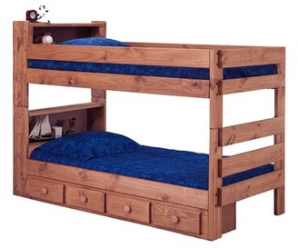 Harriet Bee Chavarria Twin Over Twin Bunk Bed with Bookcase and Drawers Harriet Bee Bed Frame Color: Mahogany Stain