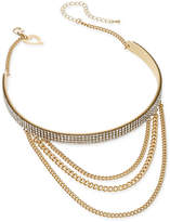 Thalia Sodi Gold-Tone Crystal Layered Chain Choker Necklace, Created for Macy's