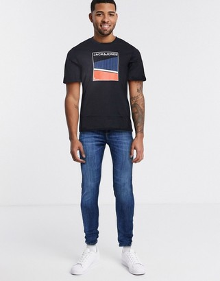 Jack and Jones Split colour print t-shirt