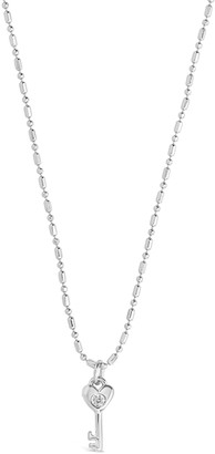 Sterling Forever Rhodium Plated CZ Heart Key Pendant Necklace