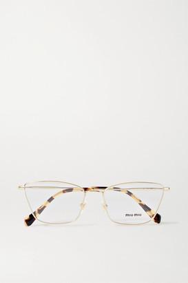 Miu Miu Cat-eye Gold-tone And Tortoiseshell Acetate Optical Glasses