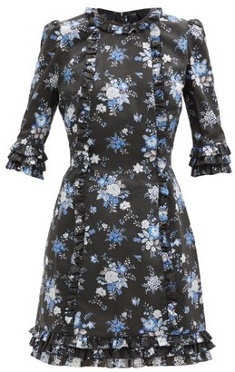 The Vampire's Wife The Mini Cate Sussex-print Cotton Dress - Black Blue