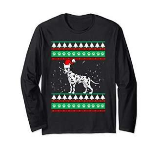 Santa Dalmatian Hat Dog Ugly Holiday Christmas Graphic Gift Long Sleeve T-Shirt