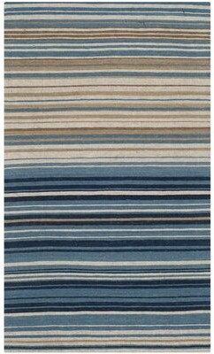 Wrought Studio Jefferson Striped Contemporary Wool/Cotton Blue/Beige Area Rug Wrought Studio