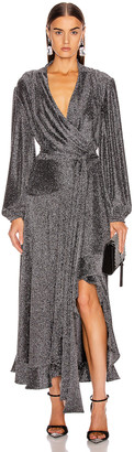 PatBO Metallic Mesh Hi Low Wrap Dress in Pewter | FWRD