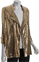 Diane Von Furstenberg gold sequin 'Chefly' cropped sleeve jacket