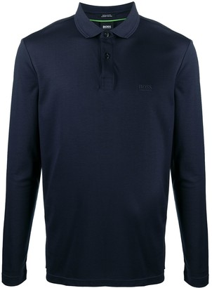 HUGO BOSS Long-Sleeved Cotton Polo Shirt