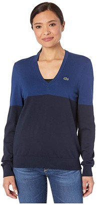 Lacoste Long Sleeve V-Neck Color-Block Cotton Sweater (Navy Blue/Methylene) Women's Clothing