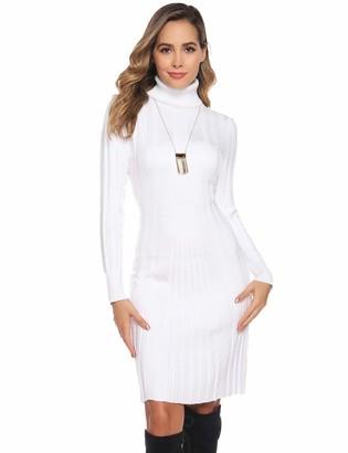 Abollria Women's Polo Neck Slim Fit Jumper Dress Long Sleeve Knitwear Sweater Pullover White