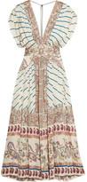 Etro Pleated Printed Silk-satin Twill Maxi Dress - Beige