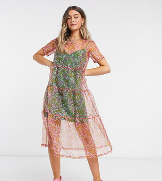 Wednesday's Girl midaxi smock dress with full skirt in floral organza