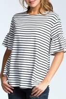 Cherish Striped Bell-Sleeve Top