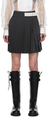 Helmut Lang Grey Wool Mini Kilt Skirt