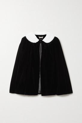 Miu Miu Embellished Lace-trimmed Velvet Jacket - Black