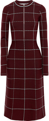 Victoria Beckham Checked Wool-blend Midi Dress