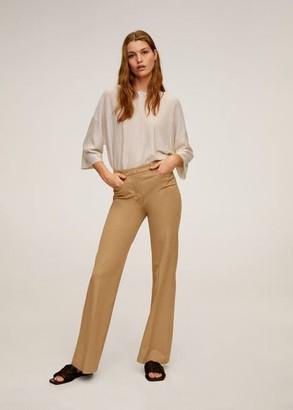 MANGO Fine-knit linen sweater beige - S - Women