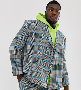ASOS DESIGN Plus boxy suit jacket with colour pop check